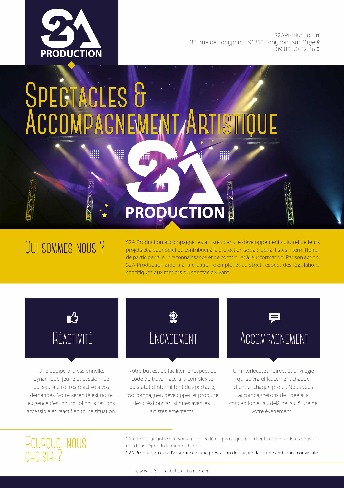 Plaquette informations et présentation S2A Production