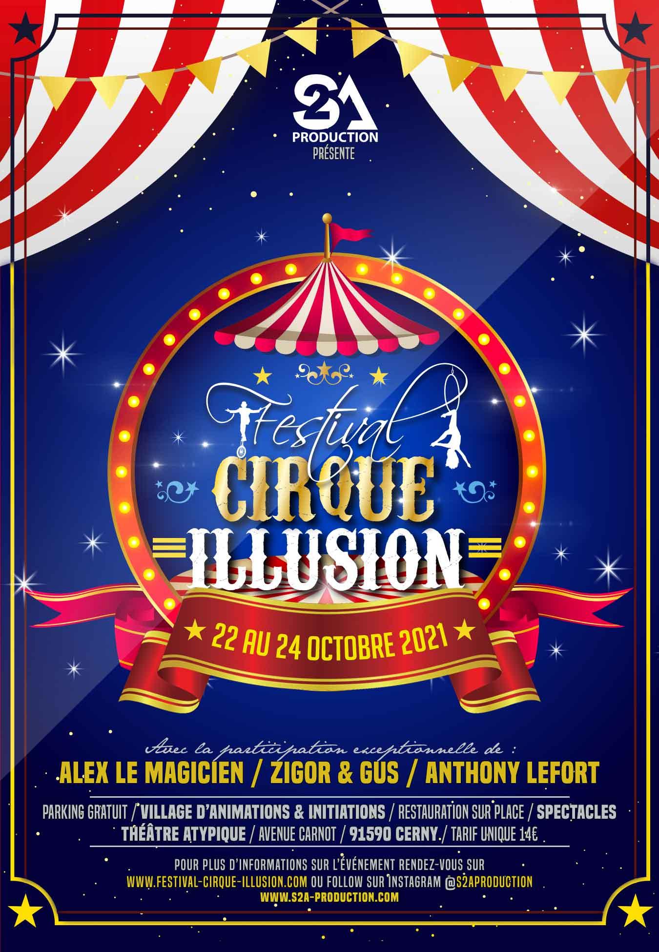 Affiche festival cirque et illusion cerny